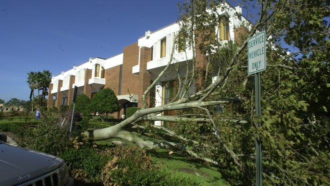 Campus destruction after Hurricane Charley swept through the University of Central Florida in 2004.