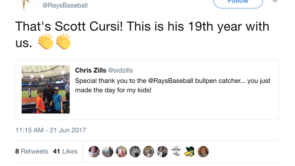 Rays bullpen catcher played catch with fans and gave a young Yankees fan a ball at Citi Field
