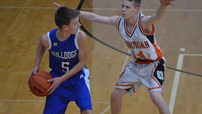 Cheboygan's Aidan Kosanke (right) defends an Inland Lakes player during a junior varsity boys basketball contest from the 2018-19 season. Kosanke, now a senior, will be one of the key players for the Cheboygan varsity team, which will be led by head coach Jason Friday, who's in his first season.