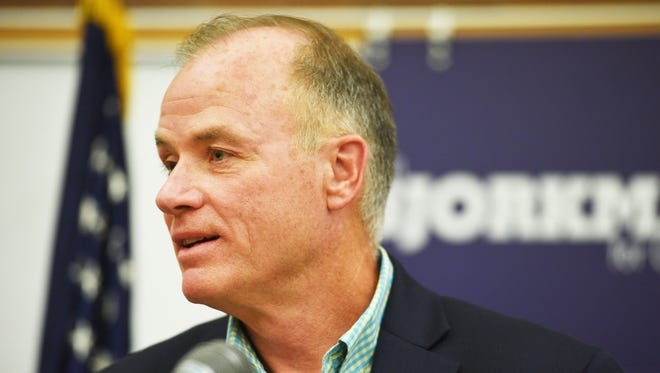 Democratic candidate for U.S. House Tim Bjorkman holds a press conference addressing the economic impact of tariffs on agricultural exports Thursday, July 12, at the Downtown Library in Sioux Falls.