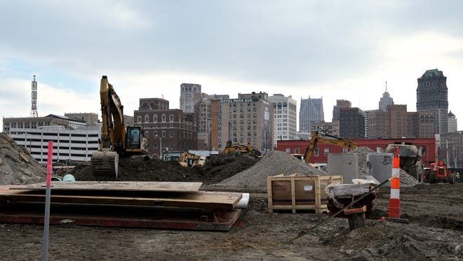 The new Detroit Red Wings arena under construction near downtown Detroit, Thursday, Jan. 28, 2016.