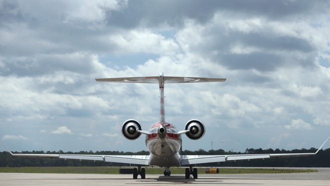 A plane prepares to takeoff at the Tallahassee International Airport on Friday, July 15, 2016.