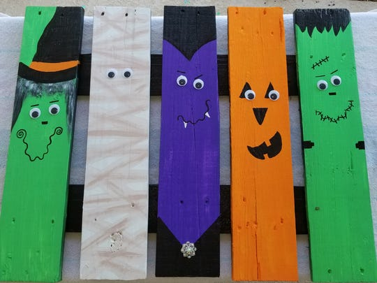 Paint pickets into your favorite Halloween character. This can be customized to any holiday.  Paint scarecrows for the whole Fall season, do snowmen, tin soldiers or nutcrackers for Christmas, rabbits for Easter.