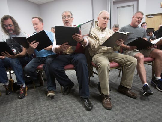 The Palm Springs Gay Men's Chorus practices ahead of their performance at the Mizell Senior Center on February 14, 2017.