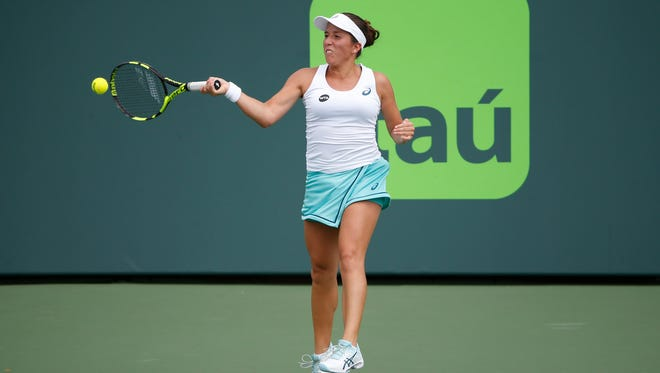 Shown here playing at the Miami Open,  Irina Falconi is disappointed the Louisville event won't be happening this year.