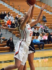Brighton's Sophie Dziekan goes to the basket while