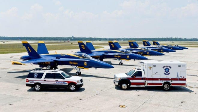 File: Escambia County EMS pictured in front of the Blue Angels.