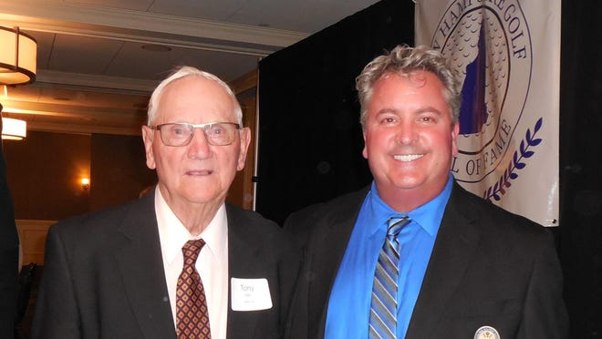 Tony Loch, left, and his son, Tim, pose for a photo when Tony was inducted into the New Hampshire Golf Hall of Fame in 2018. Tony Loch was one of the founders of the Seacoast Amateur golf tournament in the summer of 1981.