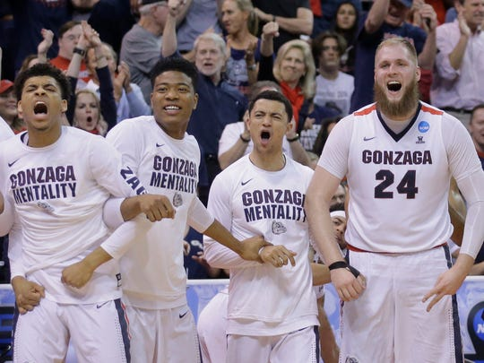 The Gonzaga bench celebrates during the second half of a second-round college basketball game against Northwestern in the men's NCAA Tournament Saturday, March 18, 2017, in Salt Lake City. (AP Photo/Rick Bowmer)