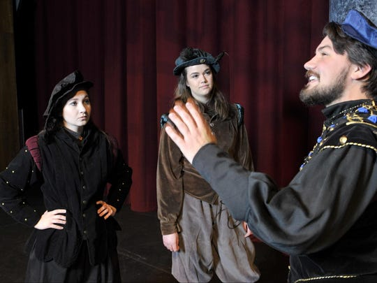 "Schyler Mayo, Kami Hinds and Brett Clevenger star in the College of Sequoias production of ""Rosencrantz & Guildenstern are Dead."""