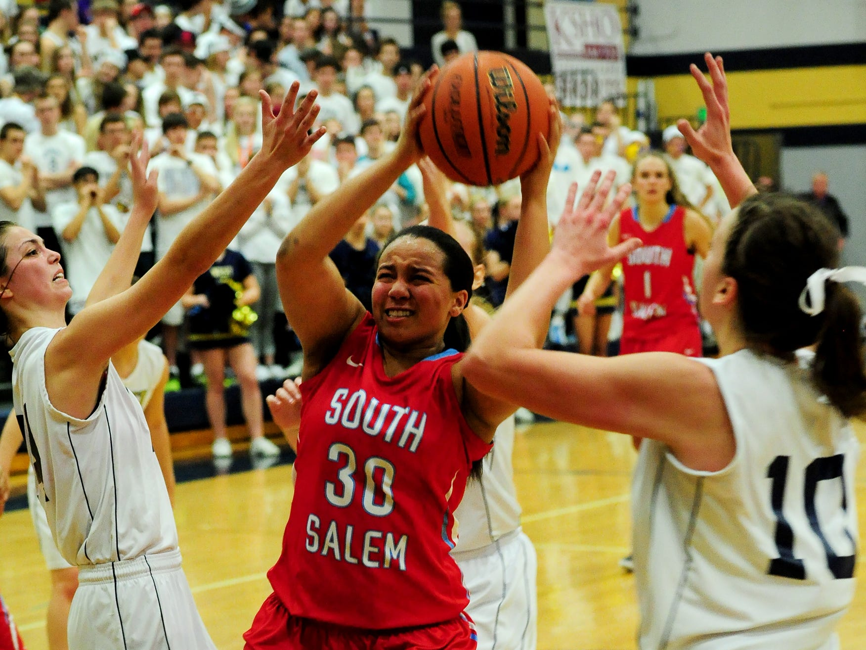 South Salem post Simone Leaks gets the ball under the basket against West Albany during a Greater Valley Conference game on Tuesday, February 24, 2015, in Albany.