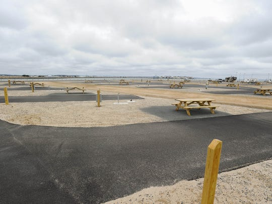 View of the newly reopened Indian River Inlet Campground with new amenities.