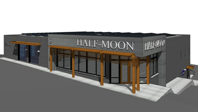 A rendering of the new Half-Moon Outfitters store that will open on E. Stone Ave. in 2018.