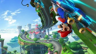 "Battle foes on the race track in ""Mario Kart 8."""