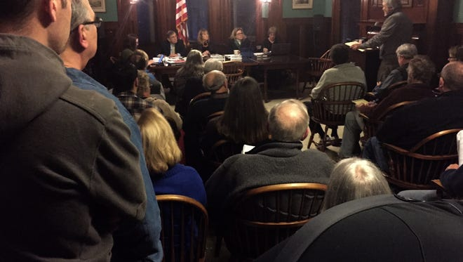 A public hearing on a proposed budget that calls for a 20-percent property tax increase drew a standing room-only crowd at Pittsford Village Hall on Tuesday, April 12, 2016.