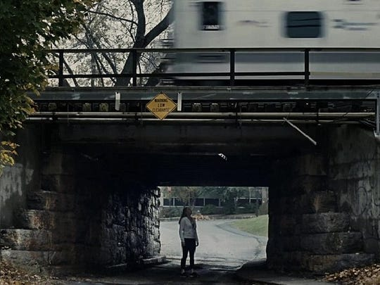 """A scene from """"The Girl on The Train"""" filmed at the Fisher Avenue Bridge in White Plains"""