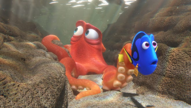 "Hank, voiced by Ed O'Neill, left, and Dory, voiced by Ellen DeGeneres, in a scene from ""Finding Dory."""