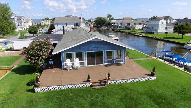The house at 38275 Keenwik Road in Selbyville not only has a generous-sized yard, but also unobstructed views of the bay and Ocean City skyline.