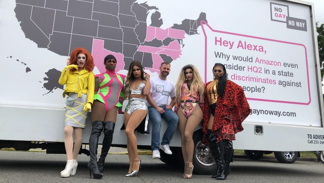 Drag queens at the Amazon shareholders meeting in Seattle, Wash. They were encouraging Amazon to chose a location for its second headquarters in a state with strong gay rights laws.