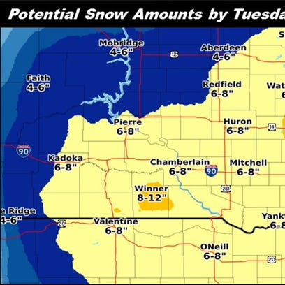 Possible snowfall amounts for the Sioux Empire area