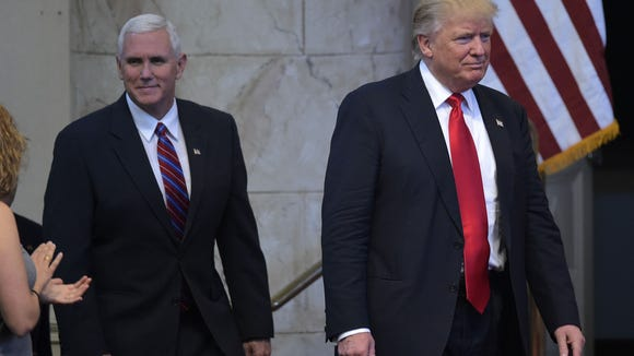 Mike Pence and Donald Trump in a September photo in Cleveland.