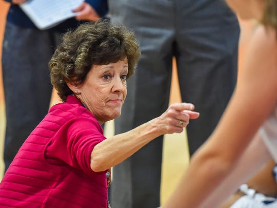 Jackson Academy head coach Jan Sojourner gives her team instructions during a time out against Madison Ridgeland Academy during MAIS AAAA Division 1 Basketball Championship held Saturday February 18, 2017 at Jackson Prep in Flowood, MS. (Bob Smith-For The Clarion Ledger)