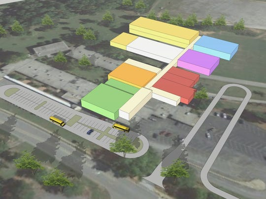 The image depicts the outline of the newly built Wren Middle School.