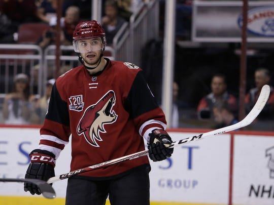 Arizona Coyotes right wing Tobias Rieder (8) in the first period during an NHL hockey game against the Ottawa Senators, Thursday, March 9, 2017, in Glendale, Ariz. (AP Photo/Rick Scuteri)