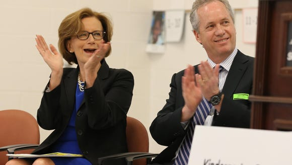 JCPS Superintendent Donna Hargens and Mayor Greg Fischer