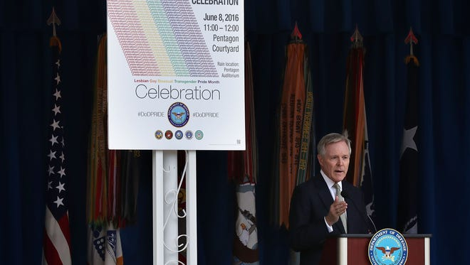 U.S. Navy Secretary Ray Mabus speaks during a Lesbian, Gay, Bisexual and Transgender Pride Month Ceremony at the Pentagon June 8, 2016 in Arlington, Virginia. The Department of Defense held the event to celebrate the LGBT Pride Month.  (Photo by Alex Wong/Getty Images) ORG XMIT: 645806997 ORIG FILE ID: 538816344