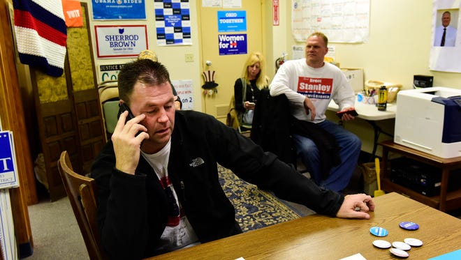 Independent candidate Chris Hilton waits for vote results Tuesday night before learning that he was elected Sandusky County sheriff.