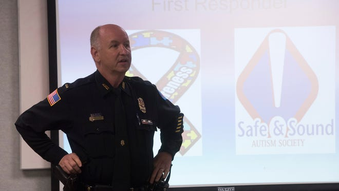 Pensacola Police officer, Jimmy Donohoe teaches a class on identifying people on the Autism spectrum during a training session at the Escambia County Emergency Operation Center on W Street Wednesday, Feb. 21, 2018.