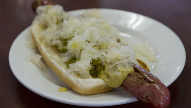 A hot dog with fixings served at Max's Famous Hot Dogs in 2013.