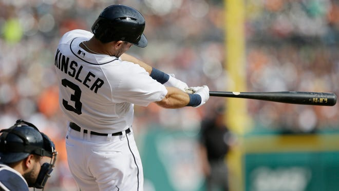 Detroit Tigers second baseman Ian Kinsler connects for a single against the Minnesota Twins on Sept. 28, 2014.