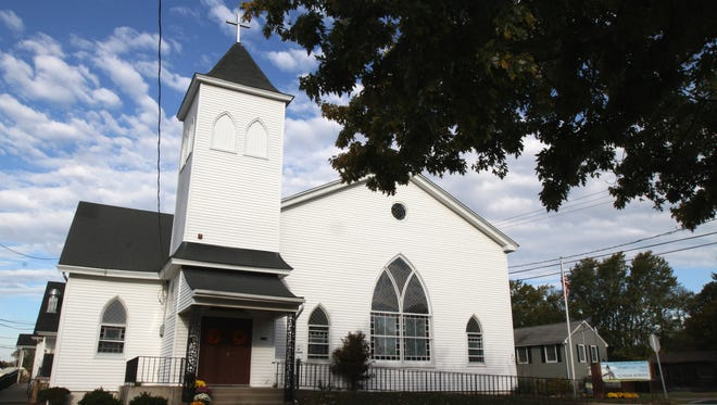 Exterior of Belford United Methodist Church, which is celebrating its 150th anniversary this weekend amid plummeting membership and other challenges, in Belford, NJ Thursday October 22, 2015.