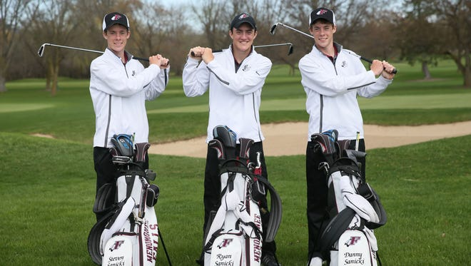 The Sanicki brothers, Steven (from left), Ryan and Danny, are playing golf at a high level for Menomonee Falls High School.