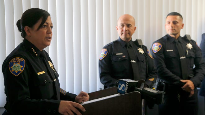 Salinas Police Chief Adele Frese introduces officers Richard Lopez and Lino Sanchez as the department's new school resource officers.