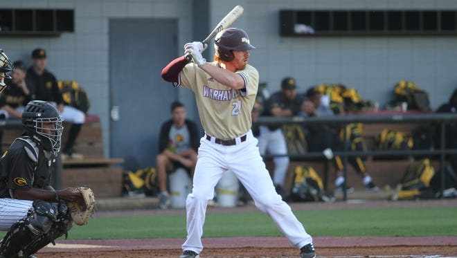 Senior leftfielder Gino Marucci (21) was a career-high 3-for-4 and hit a triple in ULM's 16-2 win over Grambling on Tuesday night at Warhawk Field.