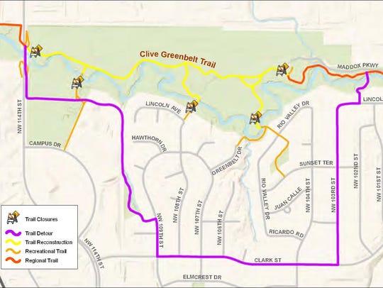 The Clive Greenbelt Trail will close April 16 so crews