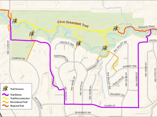 The Clive Greenbelt Trail will close April 16 so crews can straighten portions of the trail to cut down on the number of blind curves. A detour will be posted for cyclists.