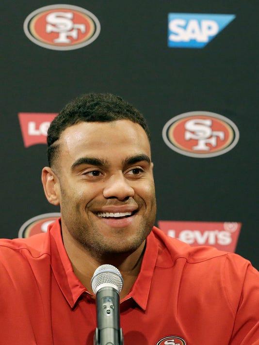 San Francisco 49ers draft pick Solomon Thomas answers questions at a news conference in Santa Clara, Calif., Friday, April 28, 2017. (AP Photo/Jeff Chiu)