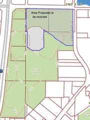 A drawing shows the proposed rezoning of Heritage Park