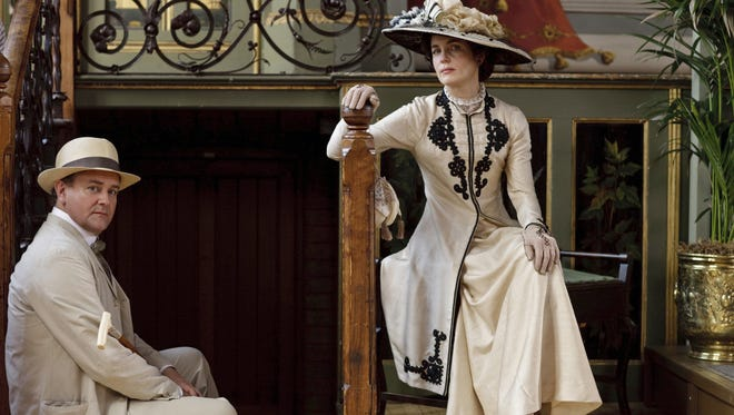 Cora and Robert from the first season of Downton Abbey (PBS) in 2010, featuring actors Hugh Bonneville and Elizabeth McGovern.