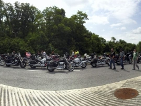Motorcycle riders stretch for miles in Sunday's 25th annual God Bless America Ride to benefit the VA Medical Center in Martinsburg, West Virginia.