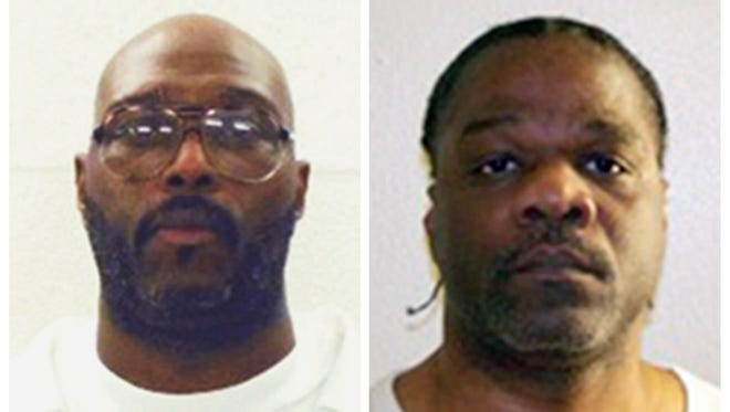 This combination of undated photos provided by the Arkansas Department of Correction shows death-row inmates Stacey E. Johnson, left, and Ledell Lee. Both men are scheduled for execution on April 20, 2017.