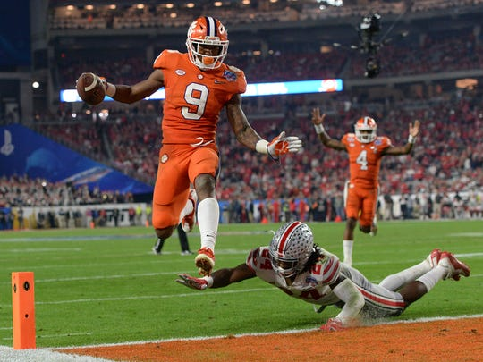 Clemson running back Wayne Gallman (9) Ohio State's Malik Hooker during the 2nd half of the Fiesta Bowl on Saturday, December 31, 2016 at the University of Phoenix Stadium.