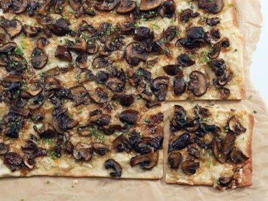 Mushroom Flatbread uses a sweet onion spread.