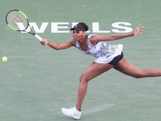 Venus Williams of the United States of America plays against Carla Suarez Navarro of Spain on Stadium One during their quarterfinal match at the 2018 BNP Paribas Open at Indian Wells Tennis Garden on March 15, 2018. Williams won the match 6-3, 6-2.