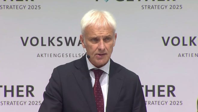 Volkswagen CEO Matthias Mueller discusses the automaker's new 2025 strategy in a press conference live streamed online.