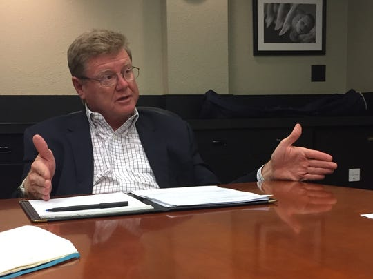 U.S. Rep. Mark Amodei, R-Nev., answers questions from the Reno Gazette-Journal editorial board on Monday, May 15, 2017.